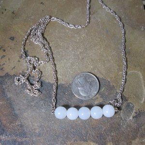 1887 White jade bar necklace silver chain